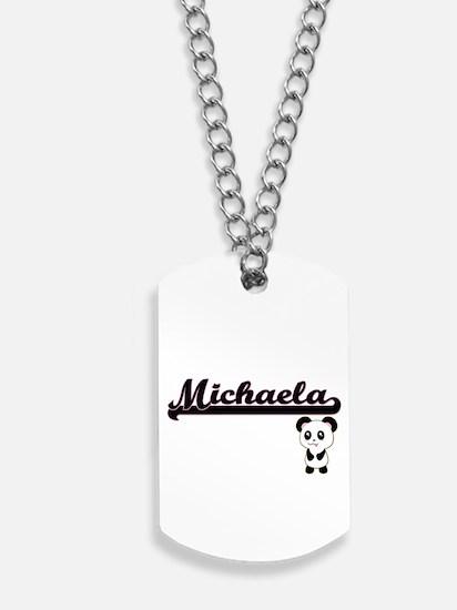 Michaela Classic Retro Name Design with P Dog Tags