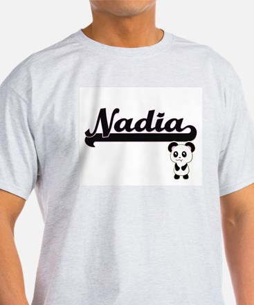 Nadia Classic Retro Name Design with Panda T-Shirt