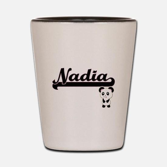 Nadia Classic Retro Name Design with Pa Shot Glass