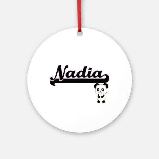 Nadia Classic Retro Name Design w Ornament (Round)