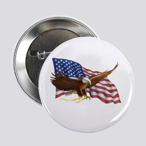 """American Flag and Eagle 2.25"""" Button"""
