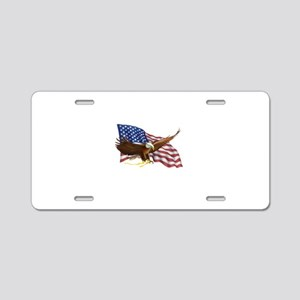 American Flag and Eagle Aluminum License Plate