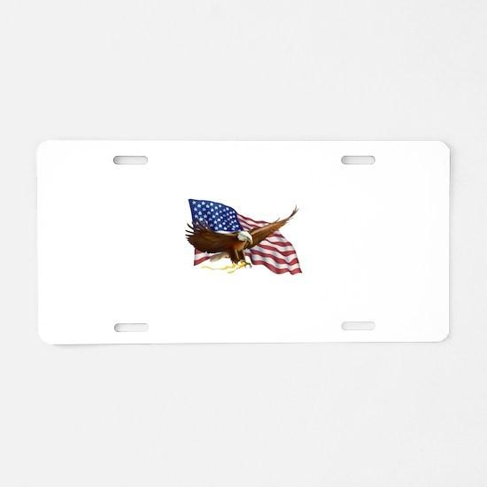 American Flag and Eagle Aluminum License Plate