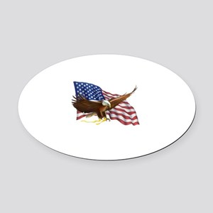 American Flag and Eagle Oval Car Magnet