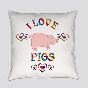 I Love Pigs Everyday Pillow