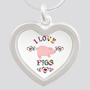 I Love Pigs Silver Heart Necklace