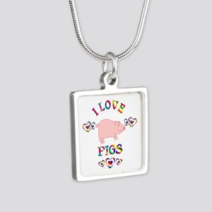 I Love Pigs Silver Square Necklace