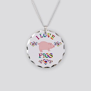 I Love Pigs Necklace Circle Charm
