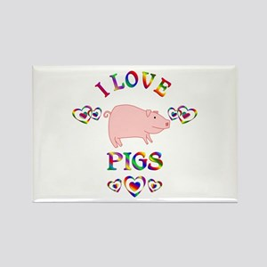 I Love Pigs Rectangle Magnet