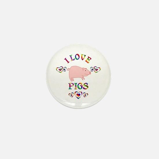 I Love Pigs Mini Button