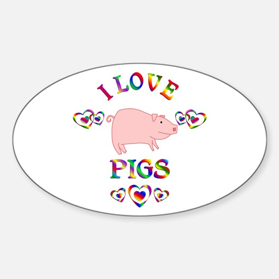 I Love Pigs Sticker (Oval)