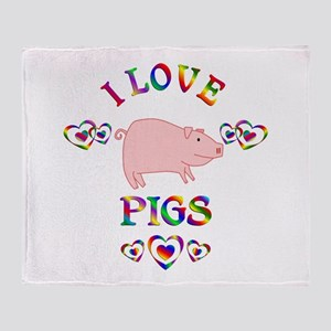 I Love Pigs Throw Blanket