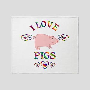 I Love Pigs Throw Blanket