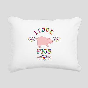 I Love Pigs Rectangular Canvas Pillow