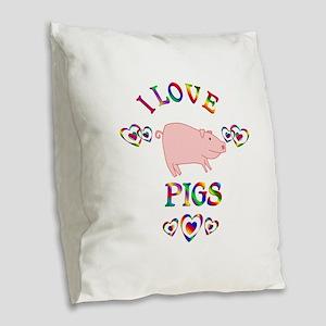 I Love Pigs Burlap Throw Pillow