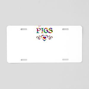 I Love Pigs Aluminum License Plate