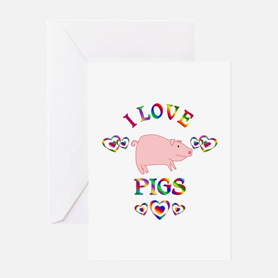 I Love Pigs Greeting Card