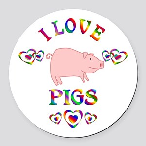 I Love Pigs Round Car Magnet