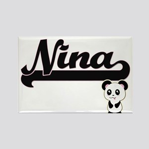 Nina Classic Retro Name Design with Panda Magnets