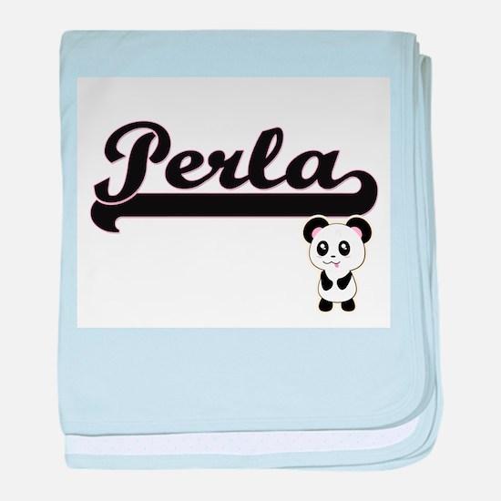 Perla Classic Retro Name Design with baby blanket