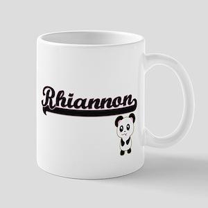 Rhiannon Classic Retro Name Design with Panda Mugs