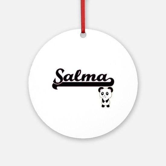Salma Classic Retro Name Design w Ornament (Round)