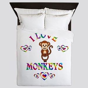 I Love Monkeys Queen Duvet