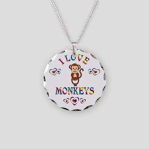 I Love Monkeys Necklace Circle Charm