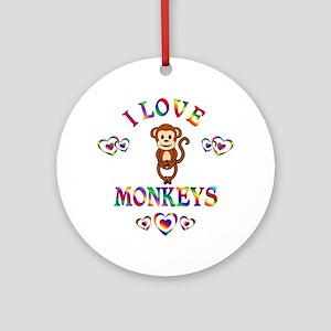 I Love Monkeys Ornament (Round)