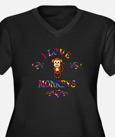 I Love Monke Women's Plus Size V-Neck Dark T-Shirt