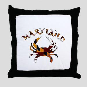 Maryland Flag Crab Throw Pillow