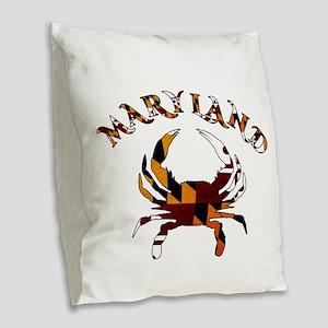 Maryland Flag Crab Burlap Throw Pillow