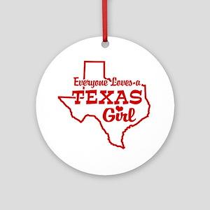 Texas Girl Ornament (Round)