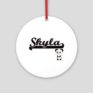 Skyla Classic Retro Name Design w Ornament (Round)