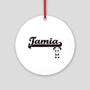 Tamia Classic Retro Name Design w Ornament (Round)