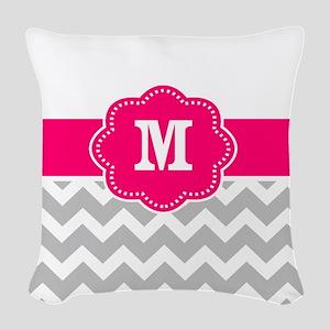 Pink gray chevron monogram Woven Throw Pillow