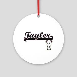 Tayler Classic Retro Name Design Ornament (Round)