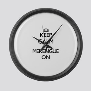 Keep Calm and Merengue ON Large Wall Clock