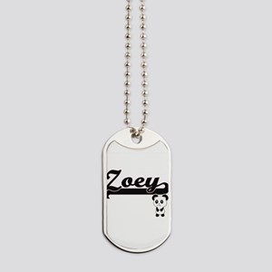 Zoey Classic Retro Name Design with Panda Dog Tags