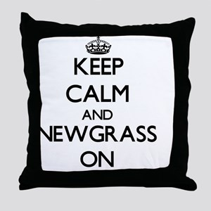 Keep Calm and Newgrass ON Throw Pillow