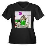 Drums Women's Plus Size V-Neck Dark T-Shirt
