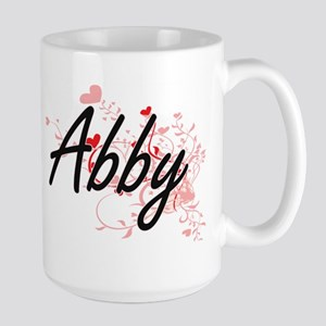 Abby Artistic Name Design with Hearts Mugs