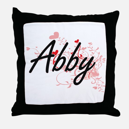 Abby Artistic Name Design with Hearts Throw Pillow