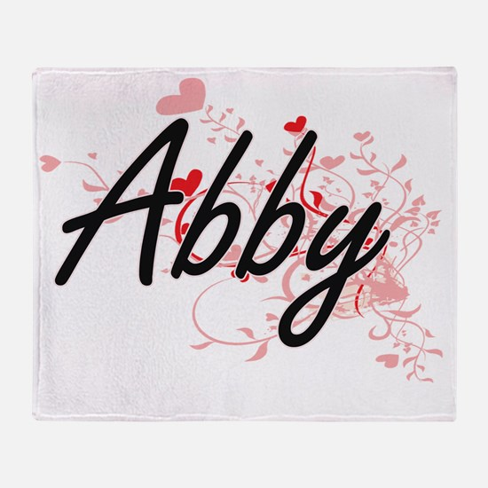 Abby Artistic Name Design with Heart Throw Blanket