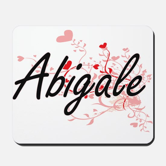 Abigale Artistic Name Design with Hearts Mousepad