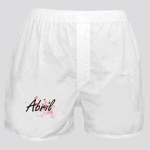 Abril Artistic Name Design with Heart Boxer Shorts