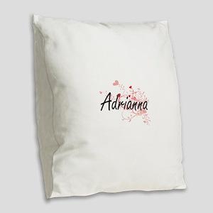 Adrianna Artistic Name Design Burlap Throw Pillow