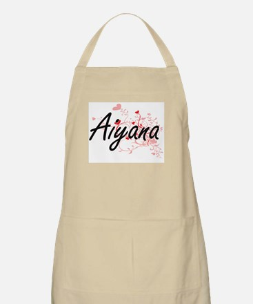 Aiyana Artistic Name Design with Hearts Apron
