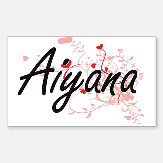 Aiyana Artistic Name Design with Hearts Decal