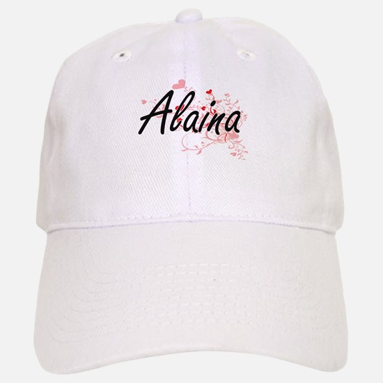 Alaina Artistic Name Design with Hearts Baseball Baseball Cap